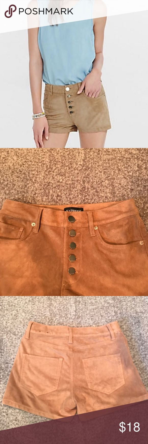 """Express Faux Suede Tan Shorts ✨New without tag!✨  A soft faux suede fabric and an exposed button fly bring boho charm to this flattering mid-rise pair of shorts. They're a perfect partner for peasant blouses, graphic tees and flowing floral tops.  * Mid rise; 2 1/2"""" inseam * Exposed five button fly closure * Slant hand pockets * Stretchy faux suede fabric * Polyster/Spandex Express Shorts"""