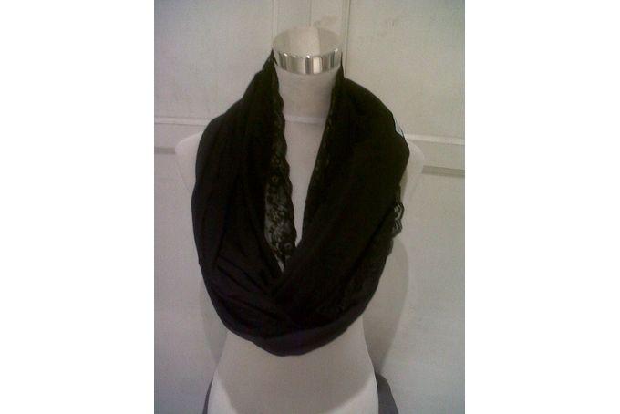 Pure Faith Single Layer Infinity Scarf - Black Lace Trim by PURE FAITH Design