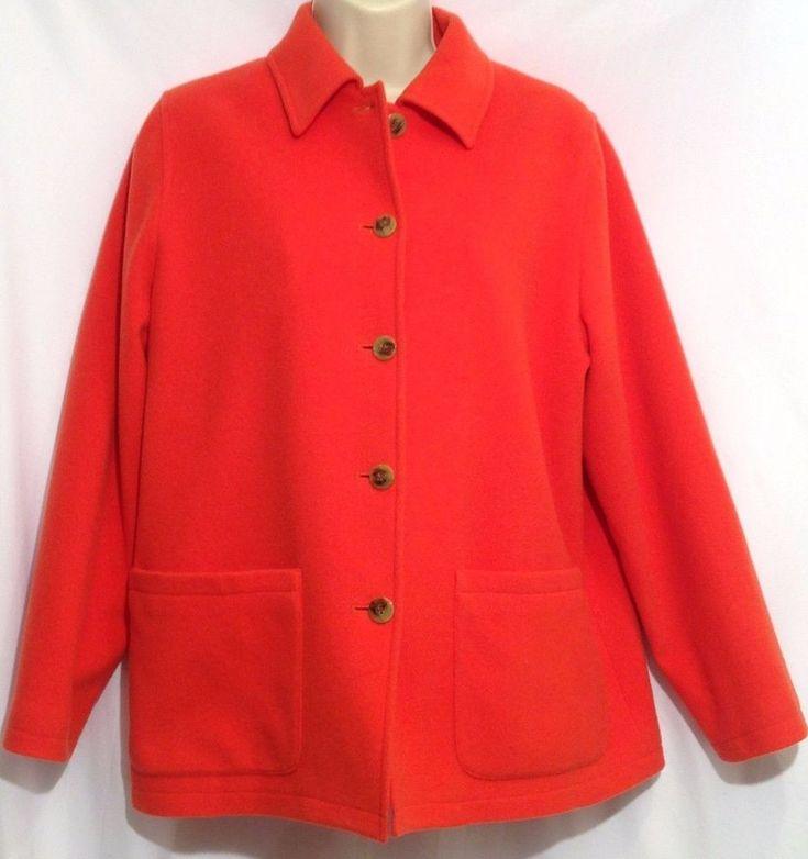 Harve Benard Holtzman Sz 4 Petite - Wool Cashmere Blend Orange Lined Coat Jacket #harvbenard #Peacoat
