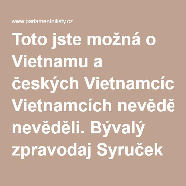 Toto jste možná o Vietnamu a českých Vietnamcích nevěděli. Bývalý zpravodaj Syruček promluvil | ParlamentniListy.cz – politika ze všech stran