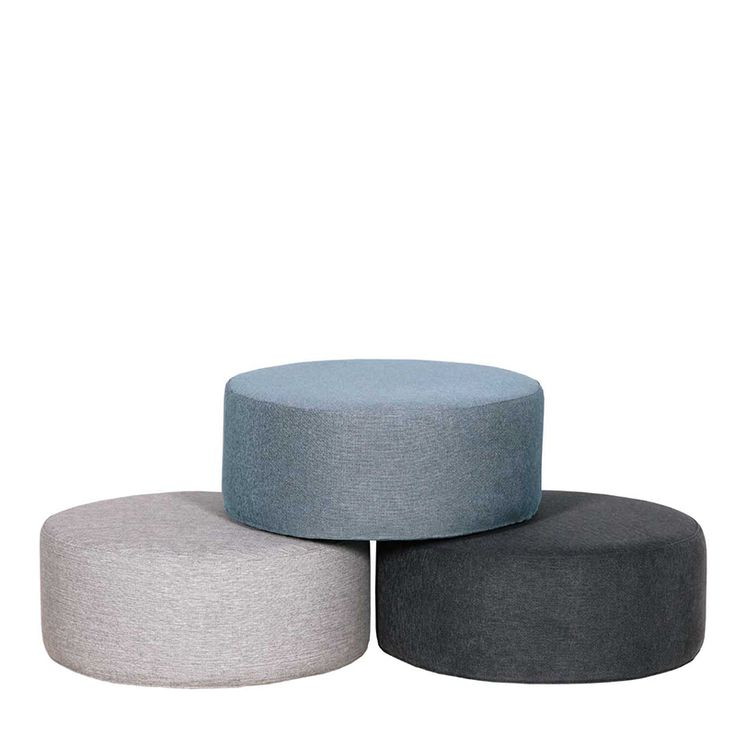 Circle poufs for a pretty little pause. Choose in various upholstery designs