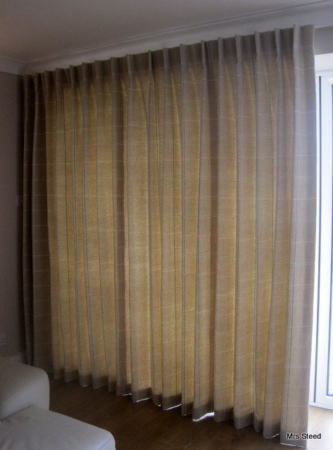 Single pleat curtains for Bifold doors to filter the light or keep you cosy. Made to measure by www.mrssteed.wordpress.com