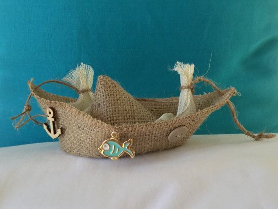 Burlap boat burlap bag Baby shower Wedding by hippiefishbeachart