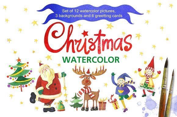 Christmas watercolor by Marina.Markizova on @creativemarket