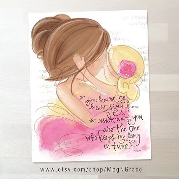 Brunette Mother and Blonde Daughter Wall Art I Love You Picture for Girl's Room