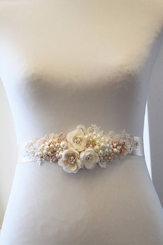 Rose Gold Bridal Sash Wedding Sash Floral Belt Wedding Cinturones De Flores Cintas Lazos