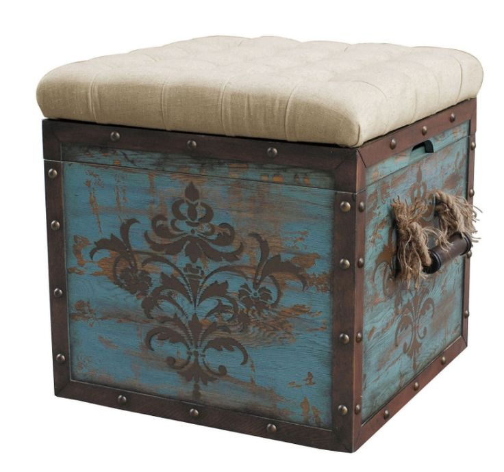 Distressed Wood Storage Ottoman ~ Best ottoman footstool ideas on pinterest