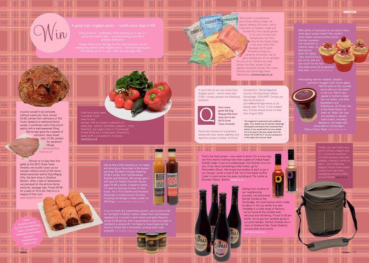 Cambridgeshire Journal summer issue a great array of products for a picnic @Cambridgeshire Journal @Sandy Ruddock @gogmagogshop @Whitney R @CorkersCrisps @Duncan Farrington