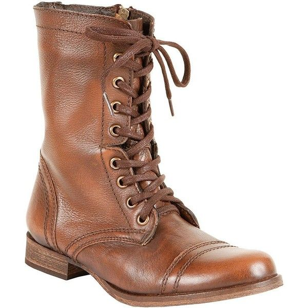 Steve Madden Troopa Leather Combat Boots ($80) ❤ liked on Polyvore featuring shoes, boots, brown leather, leather lace up boots, leather military boots, combat boots, brown combat boots and military boots
