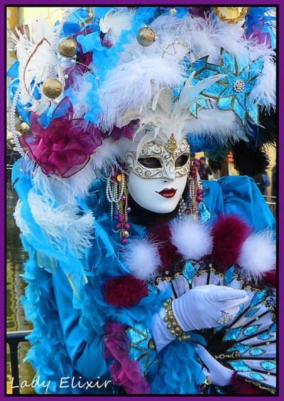 Lovely costume and mask in shades of blue with white and burgundy accents