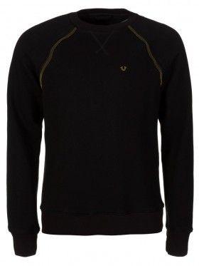 True Religion Black Raglan Zip Detail Sweatshirt