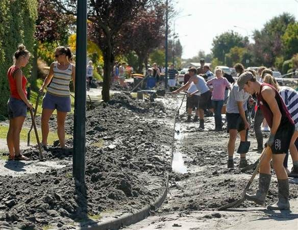 Students volunteering after February earthquake 2011 in Canterbury. Check http://volunteerarmy.org/about/.