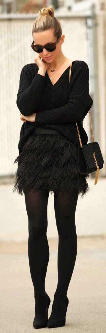Just a pretty style | Latest fashion trends: Street style black mini skirt