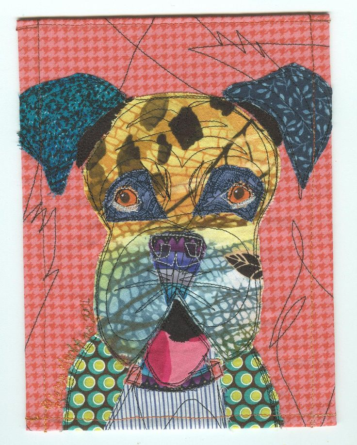 Colorful Boxer Art Fabric Collage Patchwork Quilt Card