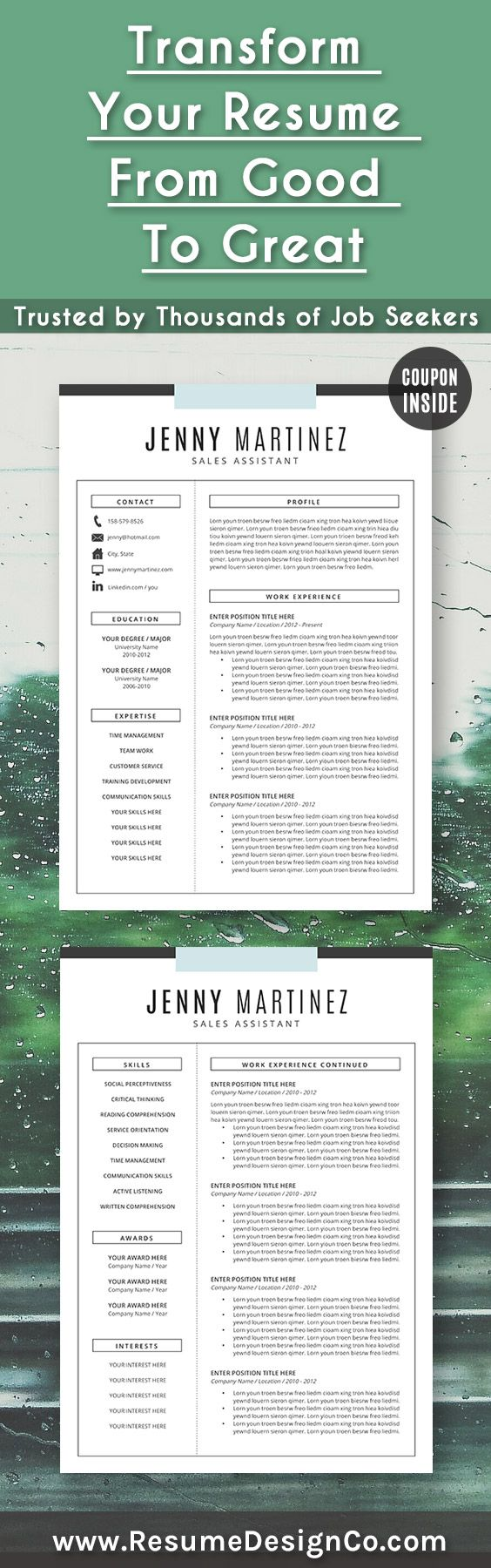 resume templates free word 2010%0A Transform your resume from good to great  Trusted by thousands of job  seekers  ResumeDesignCo    Cv Templates WordResume