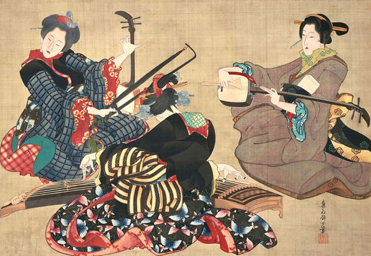 Hanging scroll, Three Women Playing Musical Instruments about Bunsei, (1818-1830) to Tenpo (1830-1844) era, by Katsushika Oi (Japanese, active about 1818-after 1854) ; ink and color on silk
