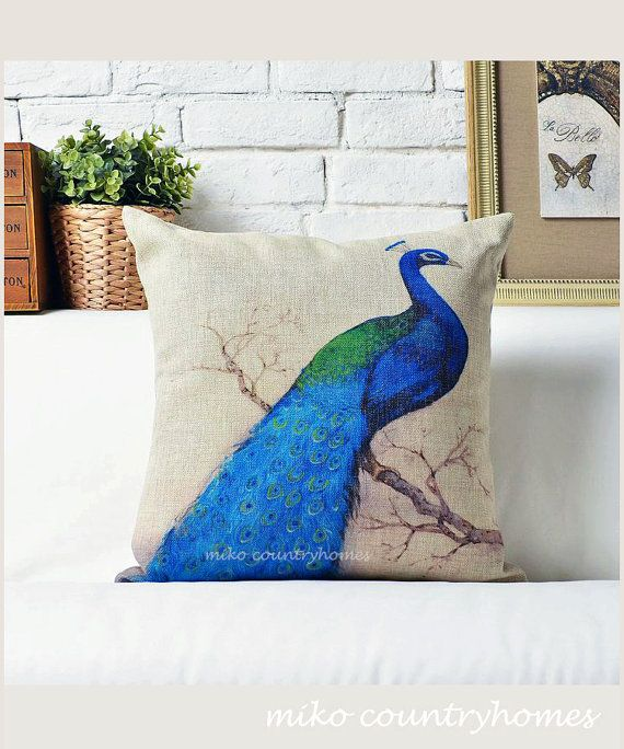 Throw Pillow Peacock : Peacock Bird Illustration Throw Pillow Cushion Cover Peacocks, Home and Throw pillows