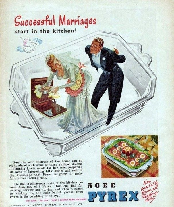 Forget that whole love and trust thing, it's all about how you cook! | 17 Ridiculously Sexist Vintage Ads #vintage #ads #advertisement