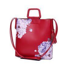 2017 Nova moda das senhoras das flores impressão sacos de mulheres mensageiro sacos de bolsas femininas de couro de marca Famosa sacos sac a principal(China (Mainland))
