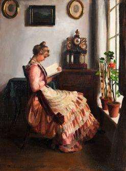 PAP EMIL  (1884-?) - Olvasó lány enteriőrben