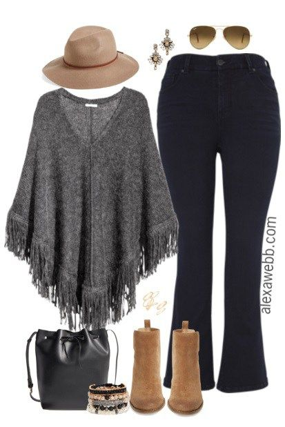 Plus Size Sweater Poncho Outfit - Plus Size Fashion for Women - alexawebb.com #alexawebb