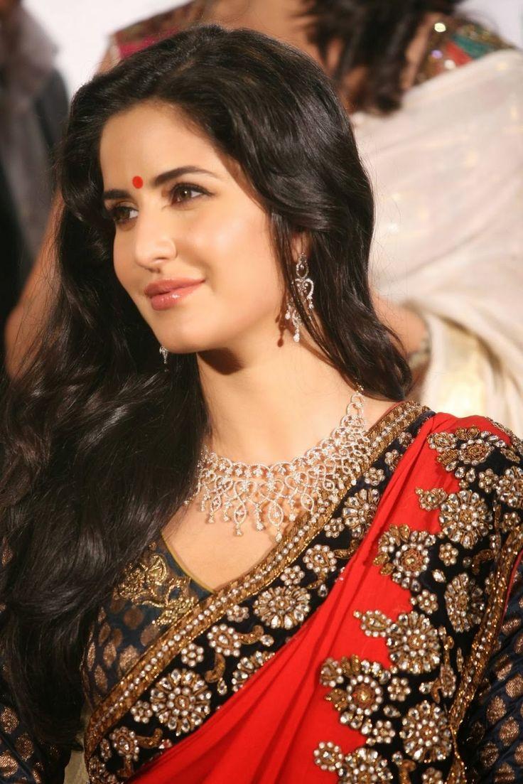 Hot Looking Face Photos Of Katrina Kaif In Red Saree