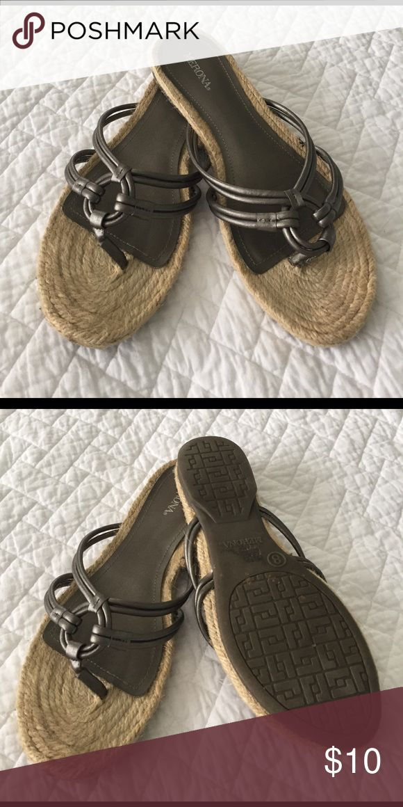 Pewter Sandals Really cute and ready for summer🏖 pewter metallic color Merona Shoes Sandals
