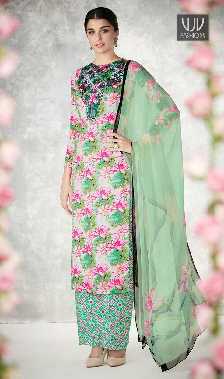 Aspiring Multi Color Printed Cotton Palazzo Style Suit  Add a small burst of color with your wardrobe with this multi color cotton Palazzo style suit. The gorgeous print work a considerable characteristic of this dress.