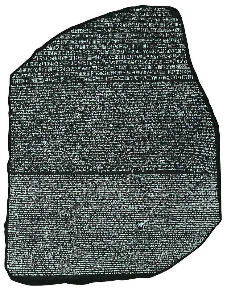 Una foto della Stele di Rosetta, in un alto contrasto, formato leggibile - British Museum