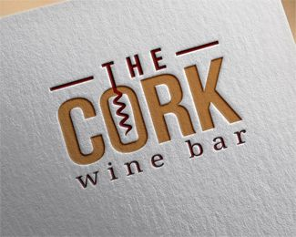 the cork wine bar Logo design - Stylized logo for wine business. Price $350.00