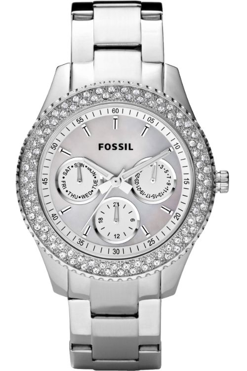 Fossil Ladies' watch: Clear crystals accent the bezel and three subdials add function to fashion. The white resin & silver tone bracelet and case provide a modern, clean look. On sale for $107.10 (Original: $133.88) @iStudentNurse #NurseHacks #Watch #NurseWatch #Fossil