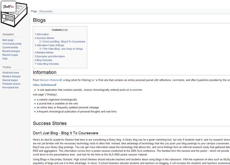 An introduction to Blogs for Libraries - from the libsuccess.org Wiki page.