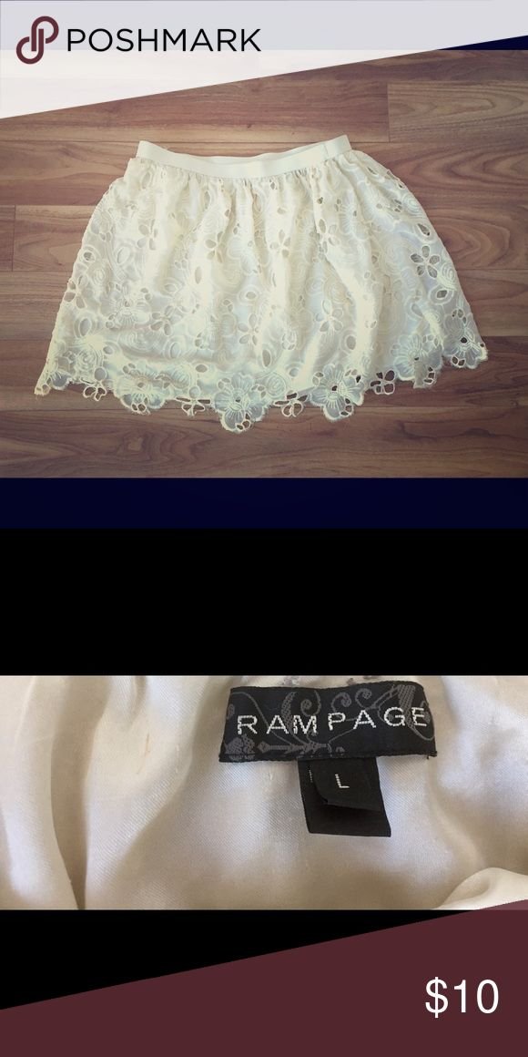 Cream lace skirt Great in any season. Smoke and pet free home. Length: 16 inches. Stain free. Polyester. Rampage Skirts Circle & Skater