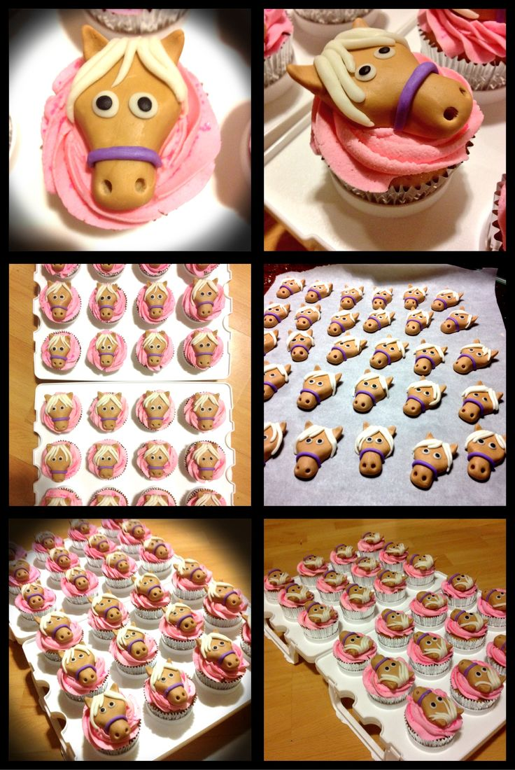 Horse/pony faces in fondant for cupcakes                                                                                                                                                                                 More