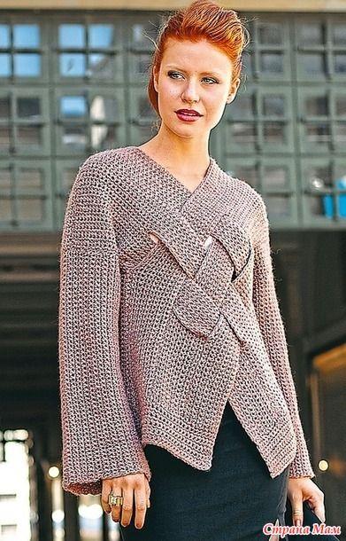 .«Плетеный» пуловер в ретро-стиле. - Все в ажуре... (вязание крючком) - Страна Мам