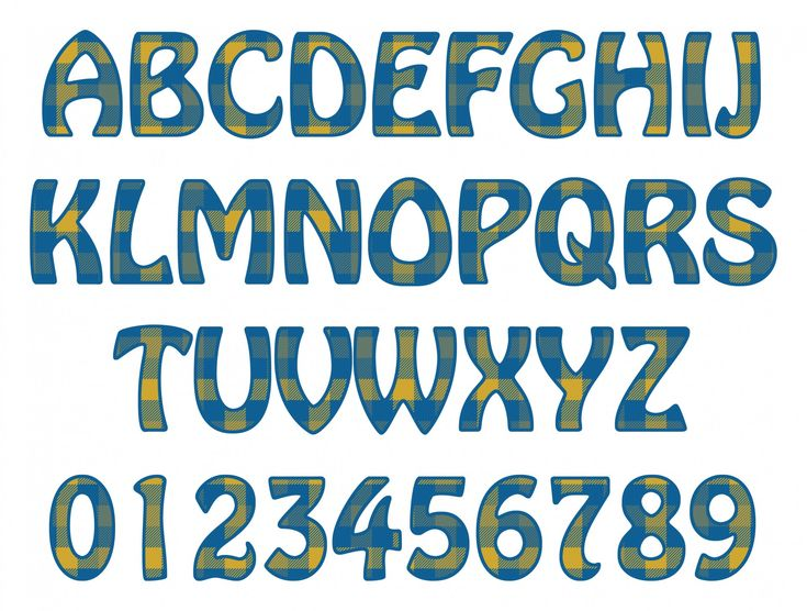 Alphabet. Letters and numbers for your scrapbooking or some other project. Blue and yellow tartan patern used to fill letters