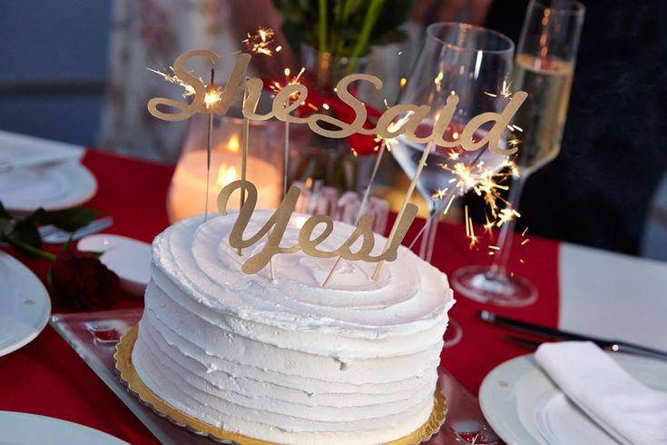 Santorini marriage proposal  cake