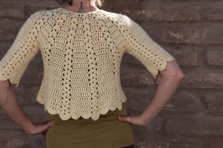 Cream crochet bolero / sweater / cape / capulet by helloandgoodbye
