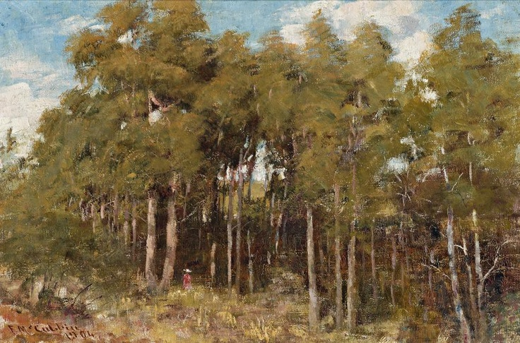 FREDERICK McCUBBIN (1855 – 1917) A MOUNTAIN CLEARING, MACEDON, 1904 oil on canvas on board 29.5 x 45.0 cm signed and dated: F McCubbin / 1904 $40,000 – 60,000