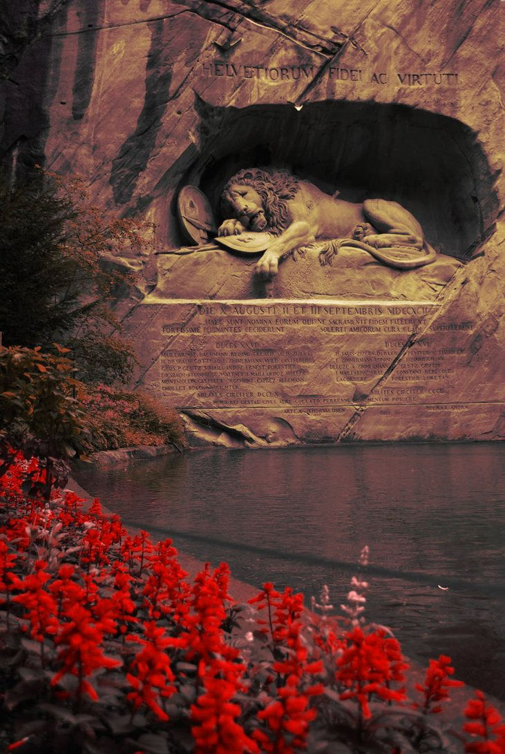 "The Lion Monument (German: Löwendenkmal), or the Lion of Lucerne, is a sculpture in Lucerne, Switzerland, designed by Bertel Thorvaldsen and hewn in 1820–21 by Lukas Ahorn. It commemorates the Swiss Guards who were massacred in 1792 during the French Revolution, when revolutionaries stormed the Tuileries Palace in Paris, France. The American writer Mark Twain (1835–1910) praised the sculpture of a mortally-wounded lion as ""the most mournful and moving piece of stone in the world.""[1]…"