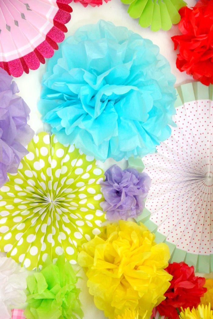 "Wild flower tissue decoration wall from a ""Wild & Three"" 3rd Birthday Party on Kara's Party Ideas | KarasPartyIdeas.com (10)"