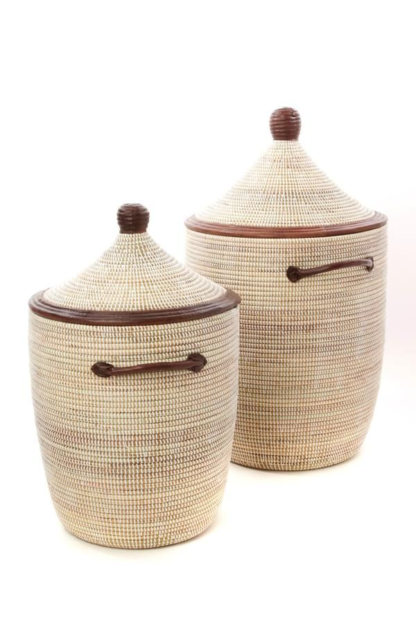 Swahili African Modern Set 2 White Laundry Baskets With Dark