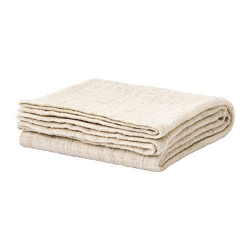 """gurli white/beige throw blanket """"Care instructions  Machine wash, cold 86°F (30°C).  Do not bleach.  Tumble dry, low temperature.  Iron, low temparature.  Do not dryclean.  Shrinkage 4%."""""""
