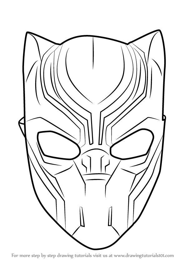 How to Draw Black Panther Mask - DrawingTutorials101.com ...