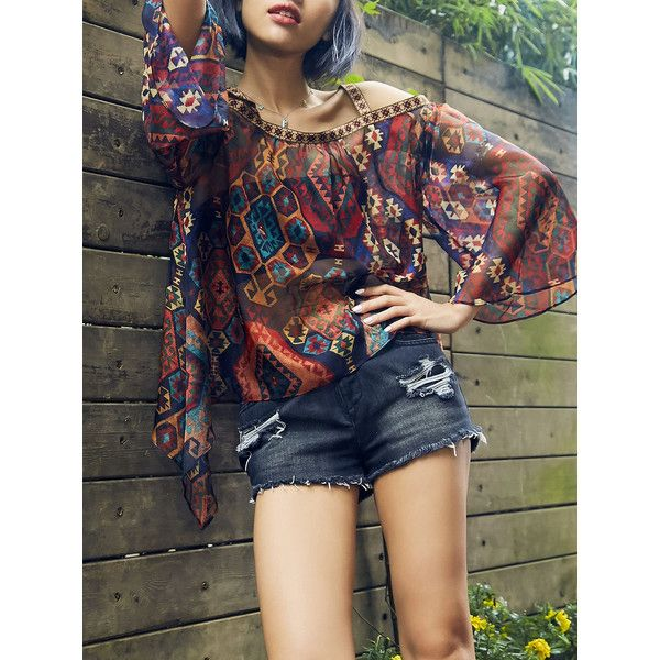 Multicolor Asymmetric Batwing Blouse ($50) ❤ liked on Polyvore featuring tops, blouses, asymmetrical top, asymmetrical blouse, multi color blouse, batwing top and batwing blouse