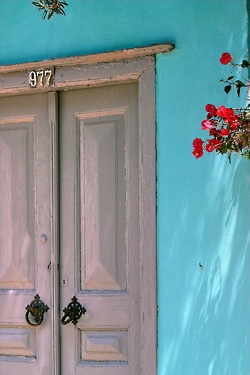 ysvoice:  Turquoise blue wall - Hydra island, Greece   by © Marite2007