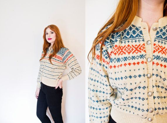 Vintage 1960s Sweater  Norwegian Wool Knit by dejavintageboutique