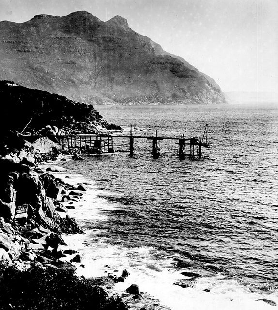 The manganese loading jetty 1908 Chapman's Peak in the background   Flickr - Photo Sharing!