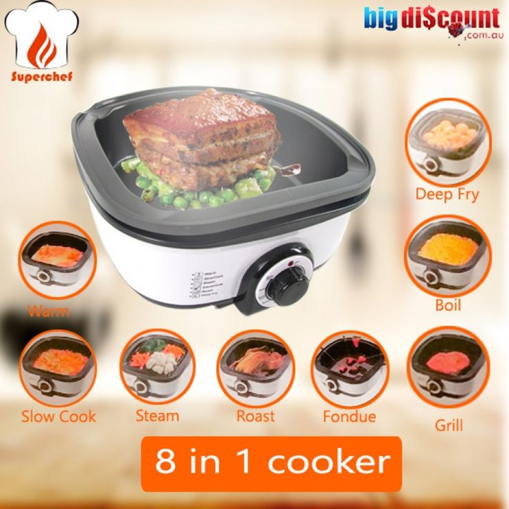 Just In: 8 in 1 Multi Cooker - Cook like never before.  Buy one toady at http://www.bigdiscount.com.au/superchef-multi-cooker-grill-steamer.html #bigdiscount #Cooker