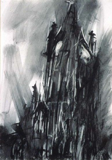 Similar to the previous one but with more added- greater detail and different techniques  Coventry: The Old Cathedral Spire by Dennis Creffield  http://www-images.warwick.ac.uk/services/art/artist/denniscreffield/